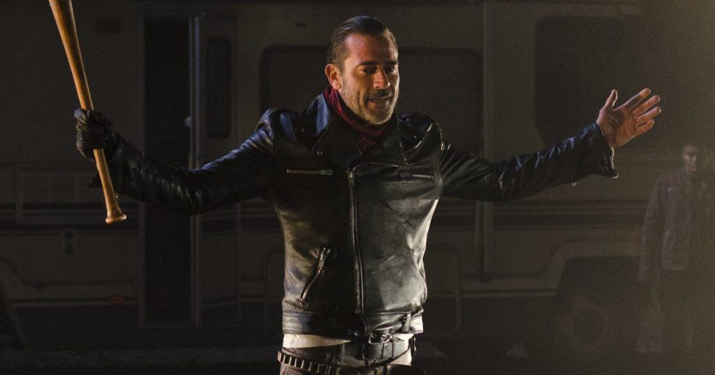 Negan is the super terrifying new villain on AMC's The Walking Dead.