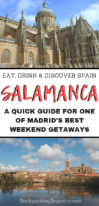 Making your Spain travel itinerary? Don't miss one of the best places to visit in Spain: Salamanca! Beautiful and fun, this university town is one of the best weekend trips from Madrid. Read on for Europe travel tips and the best things to do in Salamanca, Spain!