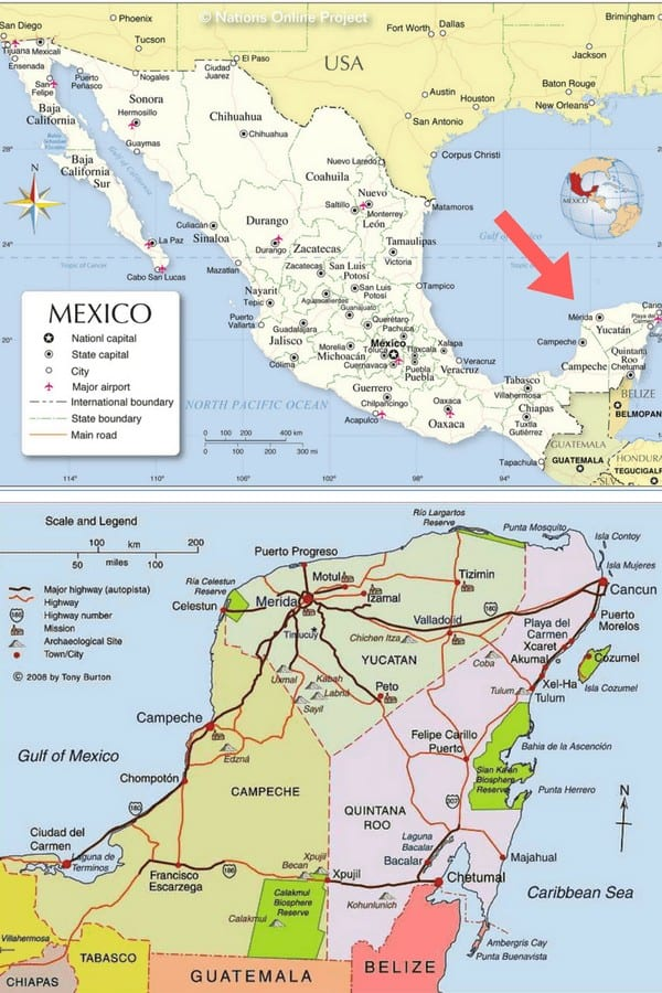 Use this Mexico Yucatan map to plan your Mexico backpacking itinerary!