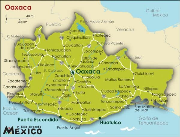 How to get from Oaxaca City to Puerto Escondido. Map of Oaxaca!