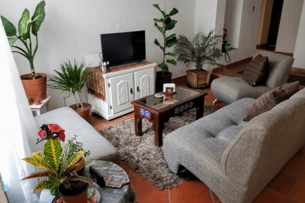 Living room in a rental apartment in Mexico,