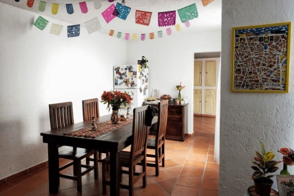 The dining room of a furnished rental apartment in Queretaro, Mexico.
