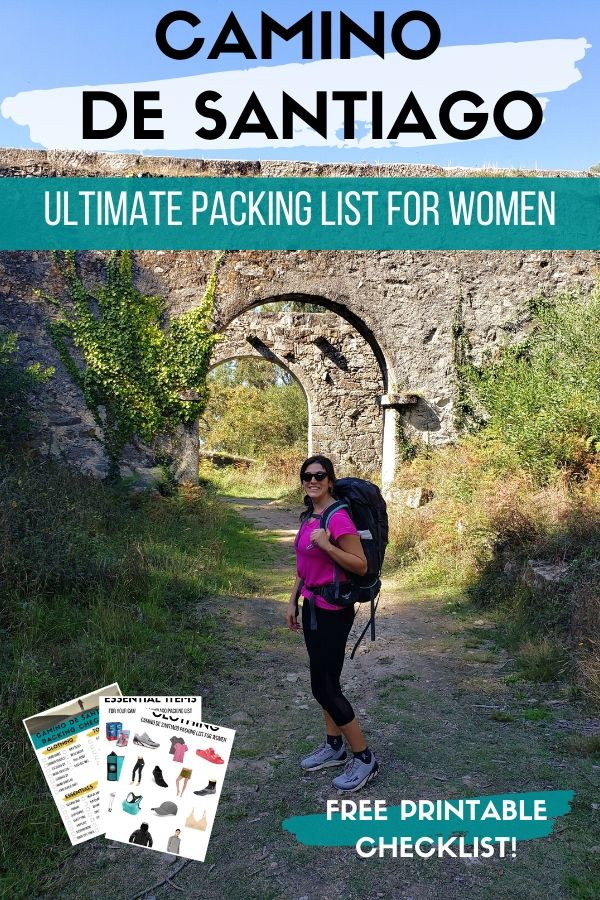 Preparing for the Camino walk? This Camino de Santiago packing list for women has everything you need to make your pilgrimage to Santiago de Compostela a successful one! Get your free printable checklist to help you pack like a pro for the Camino de Santiago trail!