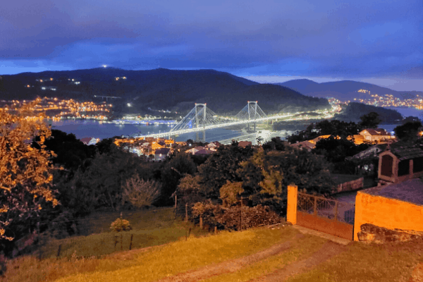 Views of a bridge at the start of the Portuguese Camino stage from Redondela to Pontevedra.