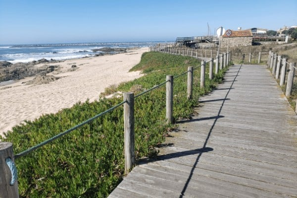 The first few Camino Portugues stages follow the boardwalk along the coast.