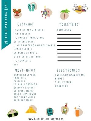 mexico packing list printable
